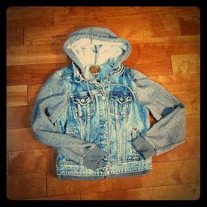 American Eagle Hoodie Jean Jacket 100% Cotton